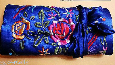 New blue jacquard Brocade Travel Roll Bag Jewelry Pouch Fashion Gift ROLL