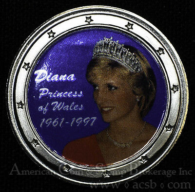 Princess Diana Wales Colorized Crown Size Medal George & Dragon Rev 38mm.