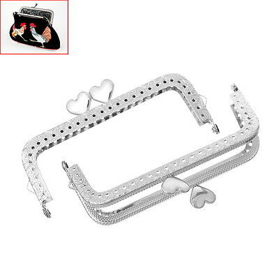 5PCs Metal Frame Kiss Clasp Arch For Purse Bag Silver Tone Heart Pattern 10.7cm