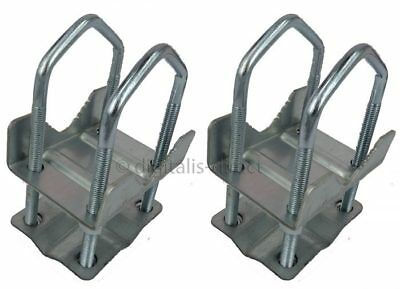 "2 x SHELLEY CLAMP 2"" x 2""  8 NUT AERIAL POLE UNIVERSAL MAST CB HAM TV BRACKET"