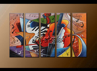 Large Modern Abstract musical oil painting Wall Art Canvas Framed Handmade F8164