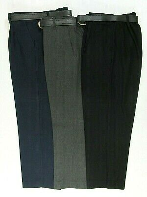 Boys School Uniform Trousers Bottoms Pants Sturdy Bigger Wide Fit Teflon Belt
