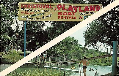 Cristoval Texas Christoval Playland Sign & Swimming Vintage Postcard (J19971)