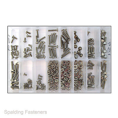Assorted UNC Stainless Steel Various Head Machine Screws & Nuts - No.s 6, 8 & 10