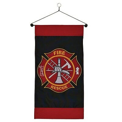 "12"" x 24"" Fire Rescue Firefighter Hanging Banner with Dowel"