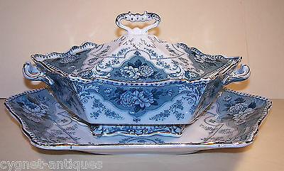 Lovely Ford & Sons Burslem Argyle Pattern Serving Dish & Large Platter Gold Trim