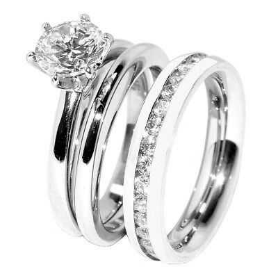 His Hers 3 PCS Stainless Steel Womens Wedding Ring Set w/Mens Clear CZ Band