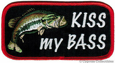 KISS MY BASS PATCH embroidered iron-on FISHING FISH NOVELTY JOKE LARGE MOUTH