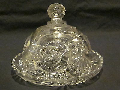 EAPG West Virginia Glass Scroll and Cane Band Butter Dish