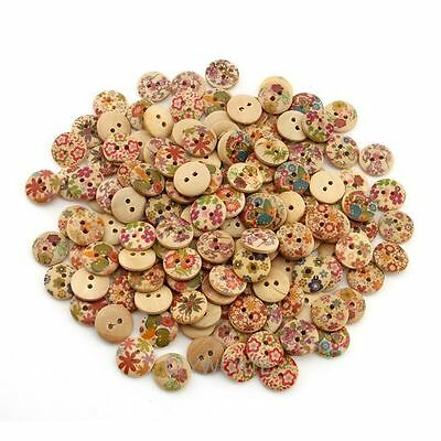 150Pcs Mixed Printed 2 Holes Wood Craft Round Sewing Buttons Scrapbooking 15mm