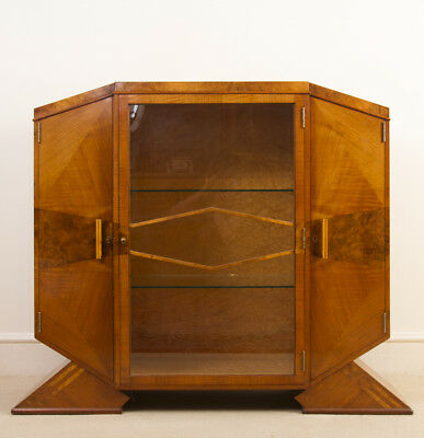 Antique Art Deco Satinwood Maple Display Cabinet c.1920