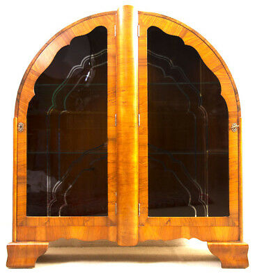 Antique Art Deco Walnut Display Cabinet/Bookcase c.1920