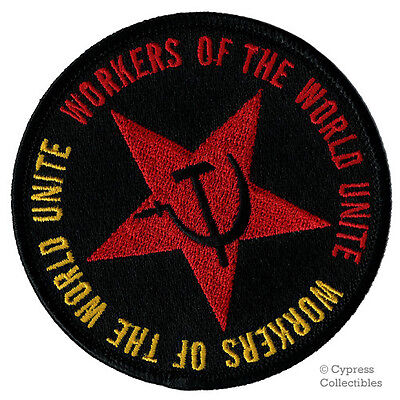 COMMUNIST MOTTO PATCH - WORKERS OF THE WORLD UNITE iron-on embroidered SOCIALISM