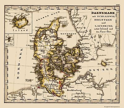 Old Scandinavia Map - Denmark and Iceland - Stieler 1852 - 23 x 26.33