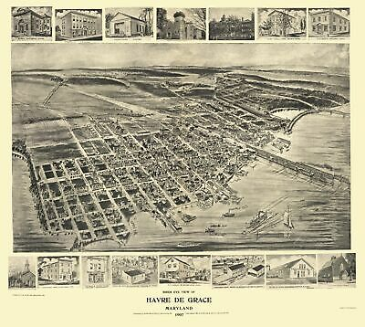 Panoramic Print - Havre De Grace Maryland - Fowler 1907 - 23 x 25.69