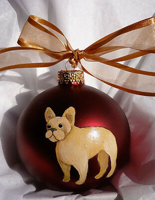 French Bulldog Buff Frenchie Christmas Ornament Hand Painted w/name