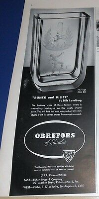 1950 Orrefors Romeo and Juliet crystal vase Ad
