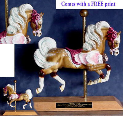 SALE Resin Sculpture Carousel Palomino Dream Horse SIGNED w FREE PRINT was $175