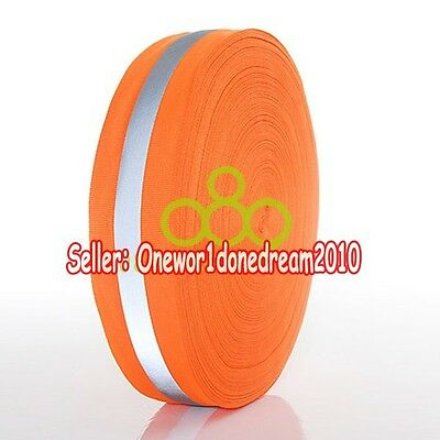 "New Reflective Orange Gray Tape  Sew On 1"" Trim Fabric Material 6M = 20 Foot"
