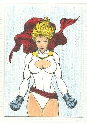 ACEO 2.5x3.5 Colored 1/1 Art Sketch Trading Card DC Comics Power Girl 3