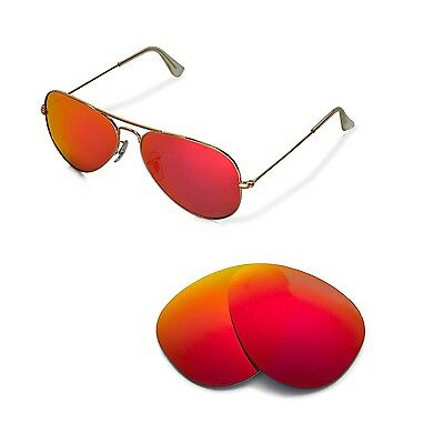 New WL Polarized Fire Red Lenses For Ray-Ban Aviator Large Metal RB3025 58mm