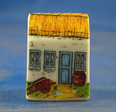 Birchcroft Porcelain House Thimble -  Irish Thatch Cottage