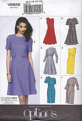 Vogue Sewing Pattern Misses' Lined Dress Princess Seams Sizes 6 -22 V8828