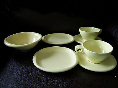 VTG Set 7 Melmac Boontonware YELLOW Melamine Melmac Side Saucers Plates Cups