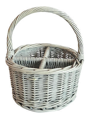 Round White Washed Wicker Four Section Cutlery Divided Basket  / Desk Tidy