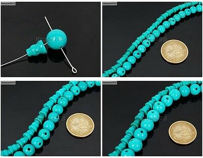 Stabilized Turquoise Gemstone TIBET GURU 3 Hole Round And Taper Bead Set Jewelry