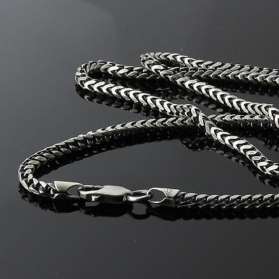 Men's Oxidised Solid Sterling Silver Franco Chain Necklace Hallmarked New