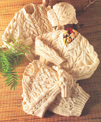 """Cable & Bobble Baby Aran Sweaters Cardigan Hat -  Knitting Pattern 18"""" - 30"""""""