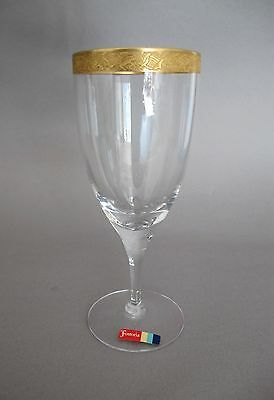 Fostoria BROCADE Gold Encrusted Crystal Etched Tulip Wine Glass(s), #674