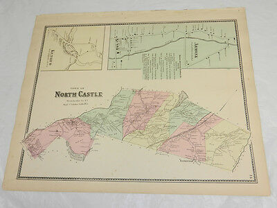 1867 Antique COLOR Map///NORTH CASTLE, WESTCHESTER COUNTY, NY