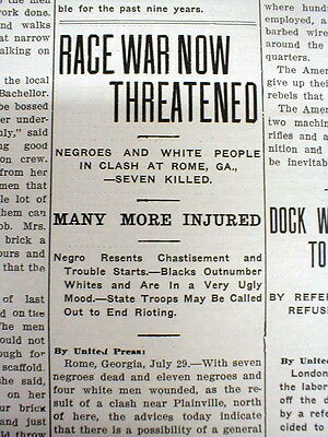 1912 newspaper RACE WAR between Negroes & Whites in PLAINVILLE Georgia near ROME