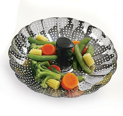 Norpro Folding Vegetable Steamer Stainless Steel Detachable/Extendable Handle
