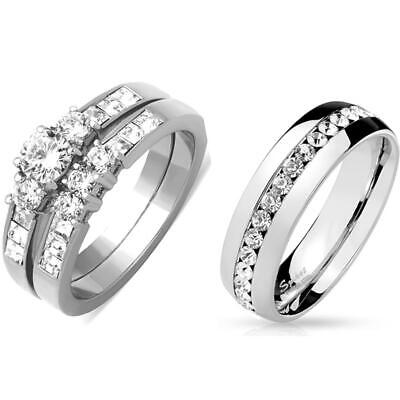 His Hers 3 PCS Womens Stainless Steel Wedding Ring Set /Mens All Around CZ Band