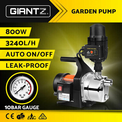 WEATHERPROOF 800W Auto Garden Water Pump High Pressure Tank Rain Pond Irrigation