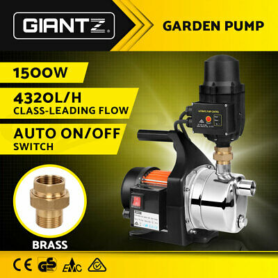 WEATHERPROOF 1500W Garden Water Pump Auto High Pressure Tank Rain Irrigation