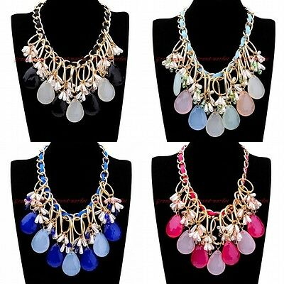Fashion Gold Chain Jelly Resin Pearl White Crystal Collar Statement Bib Necklace