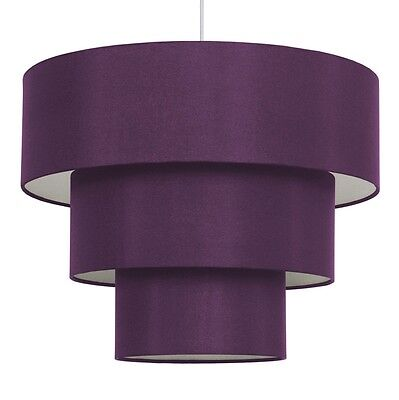 Modern Purple Faux Silk 3 Tier Lampshade Ceiling Light Pendant Lamp Shade Lights