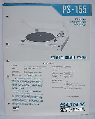 Original SONY PS-155 Stereo Turntable SERVICE MANUAL repair record player