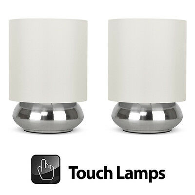 Pair of Modern Brushed Chrome & Cream Touch Dimmer Bedside Table Lights Lamps