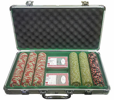 300 Authentic Dunes Casino Poker Chip Set w / Aluminum Case and 2 Bellagio Decks