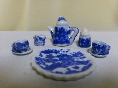 WHITE BLUE WILLOW CHILDS MINI TOY DOLL HOUSE TEA SET ASIAN ORIENTAL CHINESE
