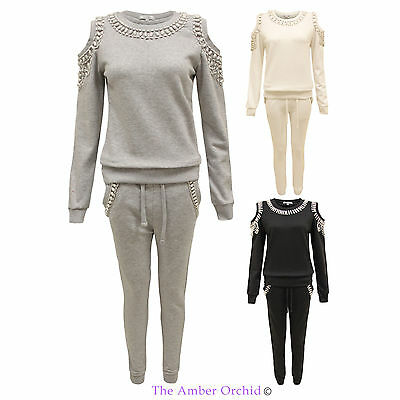 New Ladies Cut Out Beaded Jogging Suit Womens Sweatshirt Pants Full Tracksuit