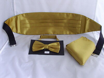 Shiny Polyester GOLD Mens Bow Tie + Cummerbund and Hankie Set>60 Colours in Shop