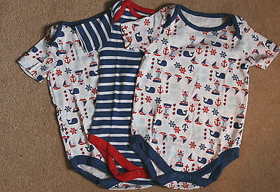 Ex John Lewis 3 Pack Baby Bodysuits 0-3m 3-6m 9-12m 12-18m Nautical Boats