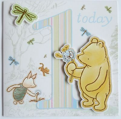 Hand Crafted Winnie the Pooh Baby Girl 1st Birthday Card & Envelope Sealed