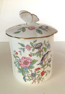"AYNSLEY PEMBROKE BUTTERFLY LID & JAR CANDY JAM 4.5"" high BONE CHINA"
